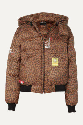 BRUMAL R13 Hooded Leopard-print Shell Down Bomber Jacket - Brown