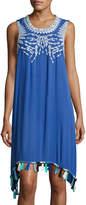Hazel Embroidered Tassel-Trim Jersey Dress, Cobalt