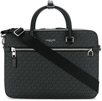 MICHAEL Michael Kors logo print zipped laptop bag