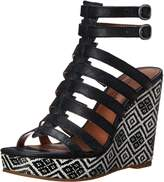 Lucky Brand Lucky Womens Labelle Wedge Sandal, Black/Black