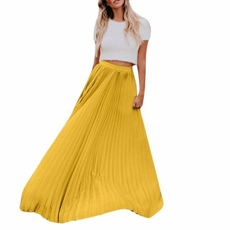 Qiran Ladies Dress Womens Fashion High Waist Fold Solid Vintage Loose Beach Wrap Maxi Special Simple Ankle-Length Suit Casual Daily Comfortable Retro Pure A-Line Skirt S-L3 Yellow