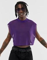 Asos Design DESIGN cropped oversized sleevless t-shirt in fine mesh
