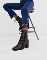 Asos Design DESIGN Rivet leather square toe lace up boots in brown croc