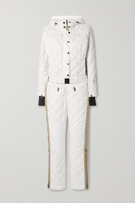 Bogner Greta Belted Quilted Ripstop Down Ski Suit - White