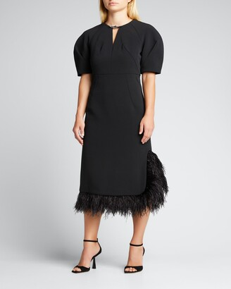 Huishan Zhang Feather-Trimmed Crepe Midi Dress