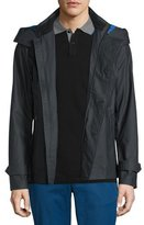 Michael Kors Double-Breasted Peacoat with Removable Hood, Black
