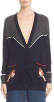 Stella McCartney Women's Nashville Applique & Piped Detail Colorblock Wool Cardigan