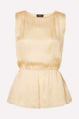 Theory Silk-satin Top - Pastel yellow