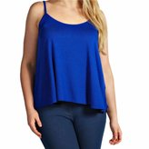 QIYUN.Z Women Summer Solid Color Halter Neck A Style Vest Loose Frill Hem Crop Tops