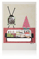 """Constance Kay """"Vintage Sofa & TV"""" Holiday Card-WHITE, NO COLOR"""