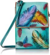 Anuschka Women's Genuine Leather Handbag - Triple Compartment Accordion Style Sling Crossbody - Floating Feathers