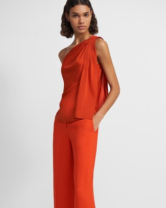 Theory One Shoulder Top in Stretch Silk
