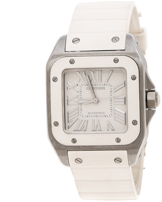 Cartier Ivory Rubber and Stainless Steel Santos 100 2878 Women's Wristwatch 30MM