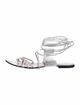 Gucci Leather Gladiator Sandals Silver