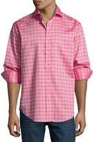 Thomas Dean Plaid Long-Sleeve Sport Shirt, Red
