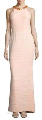 JS Boutique Halterneck Pleated Column Gown