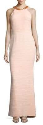 JS Boutique Textured Cutout Halter Column Gown