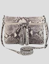 Erin brown Python effect Italian leather clutch /shoulder bag