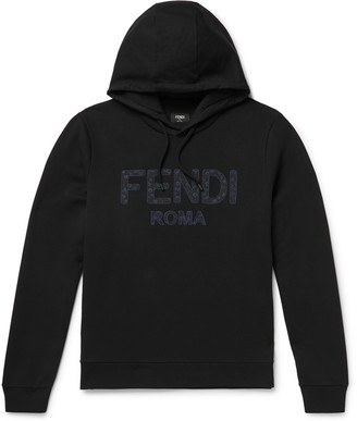 Fendi Logo-Appliqued Fleece-Back Cotton-Jersey Hoodie