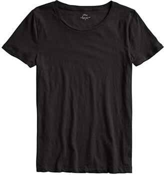 J.Crew Vintage Cotton Crew Neck T-Shirt (Black) Women's Clothing