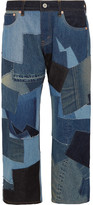 Junya Watanabe Cropped Leather-trimmed Patchwork Boyfriend Jeans - Blue