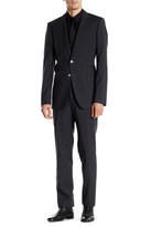 HUGO BOSS Dark Gray Check Two Button Notch Lapel Wool Suit