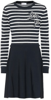 RED Valentino Love You striped knit dress