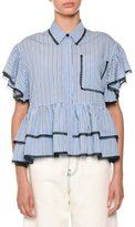 MSGM Striped Contrast Tie-Neck Blouse