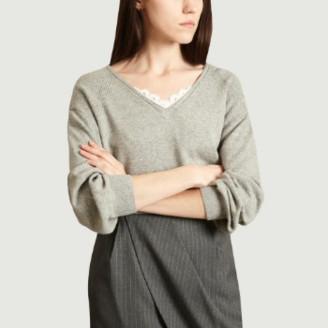 Suncoo Gray Viscose V Neck Porto Sweater - 0 | viscose | gray