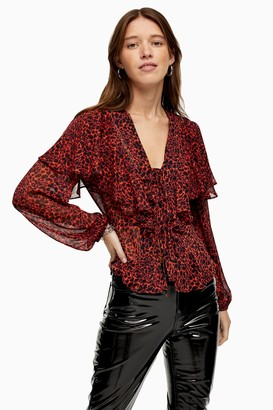 Topshop Womens Red Animal Print Blouse - Red