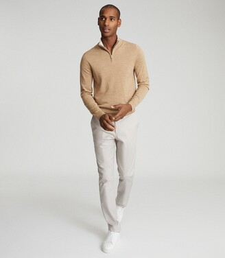 Reiss Chester - Wool Zip Neck Jumper in Camel Melange