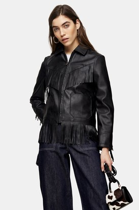 Topshop Black Faux Leather Fringe Jacket