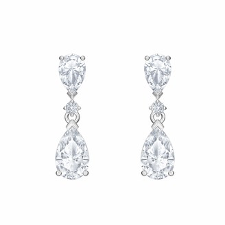 Swarovski Attract Drop Pierced Earrings with Pear and Circle Cut Clear Crystals on a Rhodium Plated Setting a Part of the Attract Collection