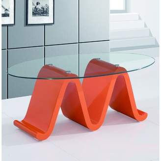 Fab Glass and Mirror The Wave Elegant Coffee Table Fab Glass and Mirror