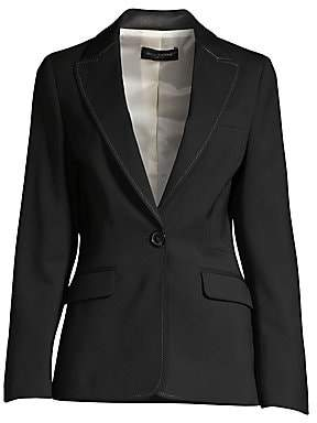 Piazza Sempione Women's Leather Detail Stretch-Wool Blazer