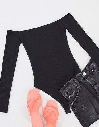 OW Intimates Gerda bardot long sleeve bodysuit in black
