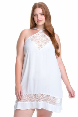 Becca Etc Women's Plus Size Poetic Lace Front Dress Cover Up