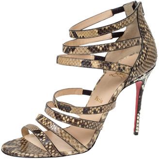 Christian Louboutin Two Tone Python Leather Mariniere 100 Sandals Size 40