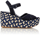 Barneys New York Women's Kabuki Platform Wedge Sandals-NAVY