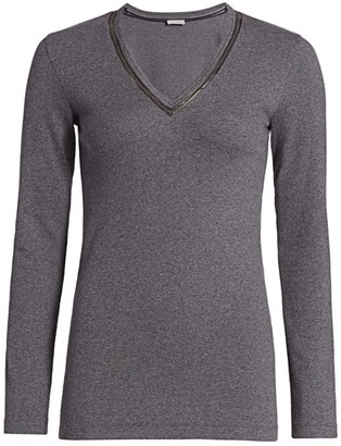 Brunello Cucinelli Ribbed Monili V-Neck Long-Sleeve T-Shirt