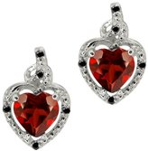 Gem Stone King 1.87 Ct Heart Shape Red Garnet Black Diamond 14K White Gold Earrings