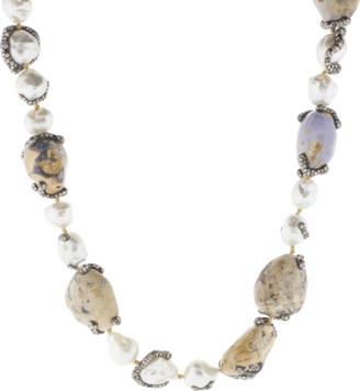 Arunashi Chalcedony, Pearl and Diamond Necklace