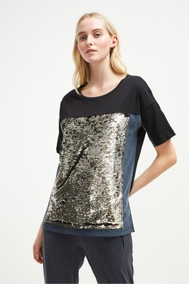 French Connection Emilia Sequin Jersey Oversized T-Shirt