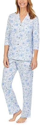 Carole Hochman Soft Jersey 3/4 Sleeve Long Pajama Set (White/Blue Floral) Women's Pajama Sets