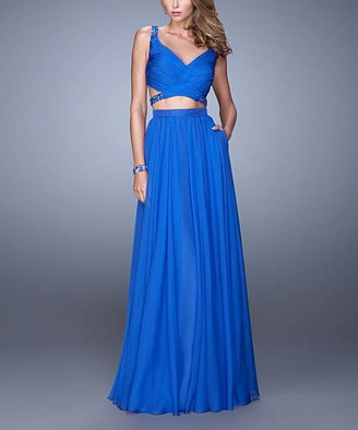 La Femme Women's Special Occasion Dresses Electric - Electric Blue Bead-Accent Strappy-Back Two-Piece V-Neck Gown - Women