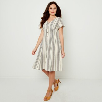 Joe Browns Striped Button-Through Knee-Length Dress with V-Neck and Short Sleeves
