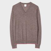 Paul Smith Women's Brown Marl Merino Wool V-Neck Sweater