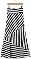 Tenworld Women Asymmetric Striped High Waist Cotton Fold Over Stretch Maxi Skirt (S = US 4)