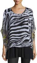Alberto Makali Zebra-Print Tunic Top, Gray