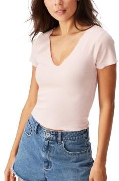 Cotton On Arden Raw Edge V-Neck Short Sleeve Top